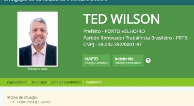 Candidatura de Ted Wilson, do PRTB, à prefeitura de Porto Velho é indeferida pela Justiça Eleitoral