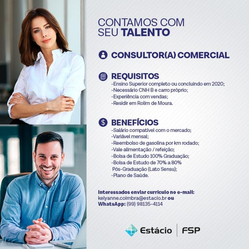 Estácio-FSP está contratando Consultor(a) Comercial