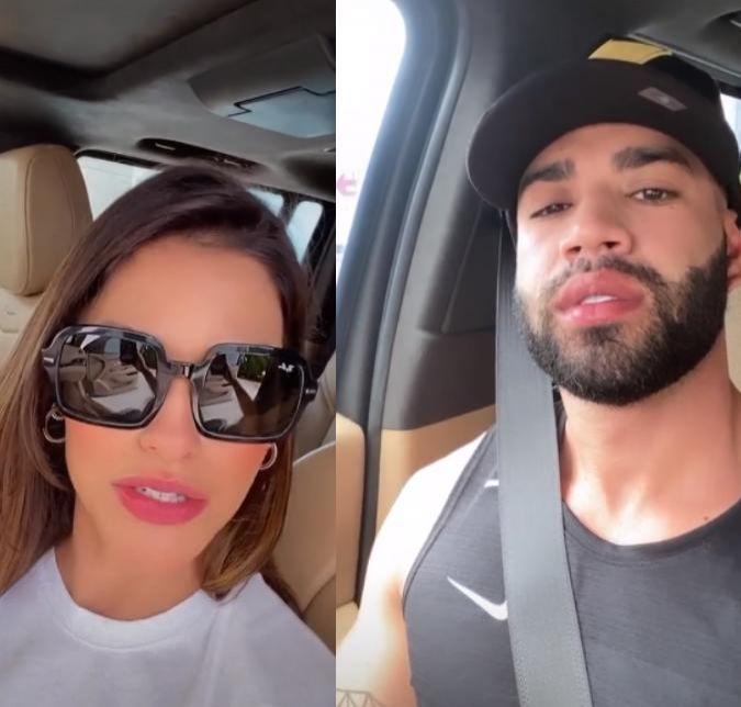 Andressa Suita e Gusttavo Lima posam em carros parecidos
