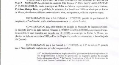 SINSEZMAT solicita a implatação em carater de urgencia do Piso Nacional também para os professores aposentados em Rolim de Moura