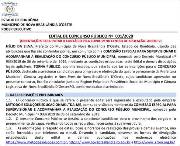 Prefeitura de Nova Brasilândia abre concurso e oferece 84 vagas em todos os níveis