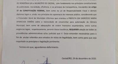 Após denúncias dos vereadores contra confissão de dívidas de aproximadamente R$10 milhões da prefeitura de Cacoal, com a Energisa, o município conseguiu a anulação da dívida