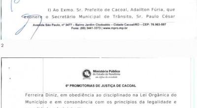 MP recomenda exoneração de secretário de trânsito de Cacoal, RO, que dirigiu bêbado