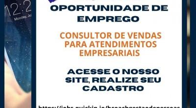 Oportunidade de Emprego - Consultor de Vendas