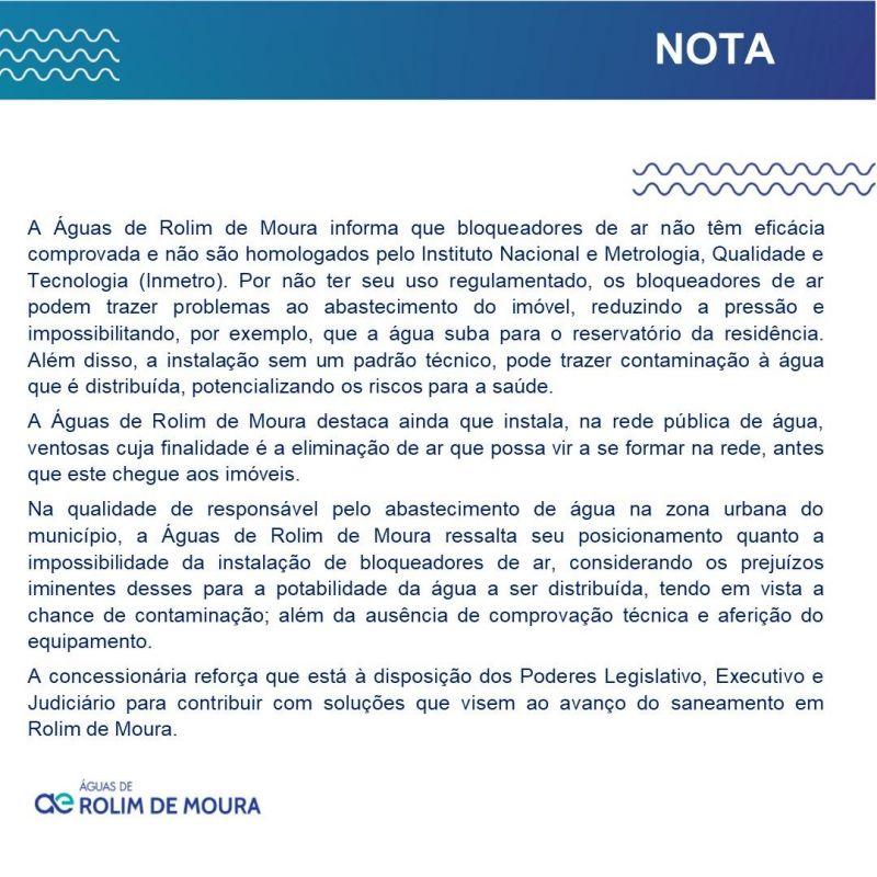 Águas de Rolim de Moura explica sobre bloqueadores de ar