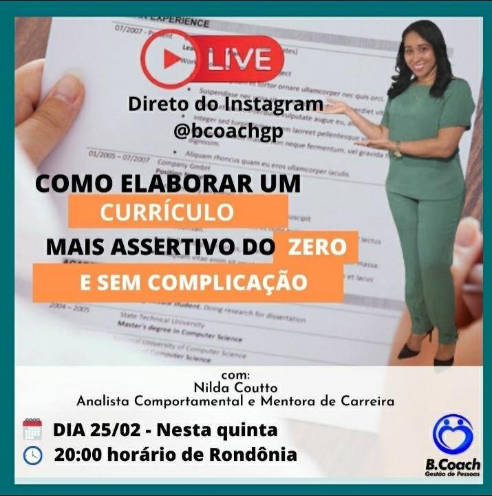 Rolim: Nilda Couto fará live quinta-feira sobre forma correta de preencher currículo