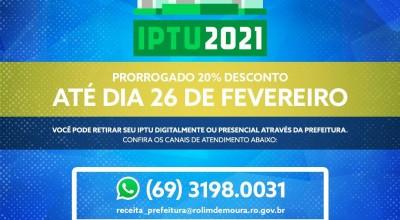 Prefeitura de Rolim de Moura prorroga prazo para pagamento do IPTU com 20% de desconto