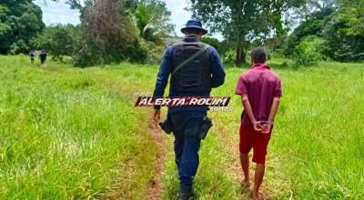 Suspeito de ter matado homem a facadas no Bairro Beira Rio é preso pela Polícia Militar, na zona rural de Rolim de Moura