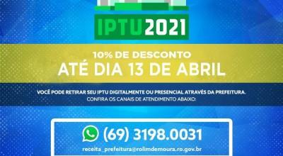 Prazo para pagar IPTU com 10% de desconto acaba na próxima semana em Rolim de Moura