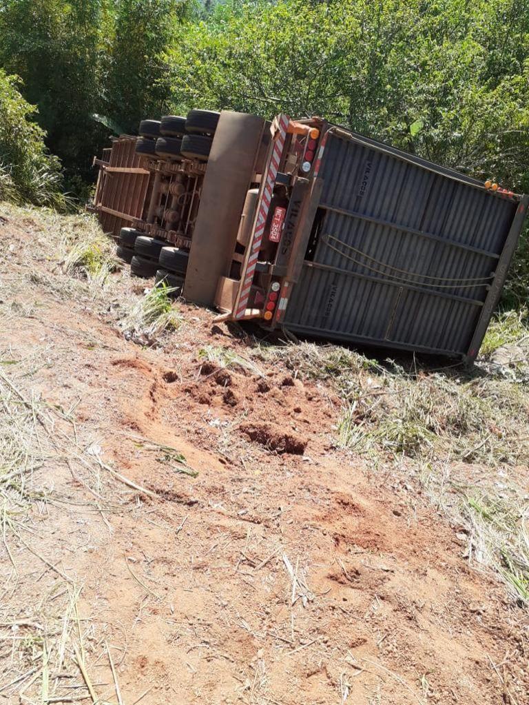 arreta carregada com 85 cabeças de gado tomba após sofrer pane, na RO-489 em São Felipe; 75 garrotes morreram -