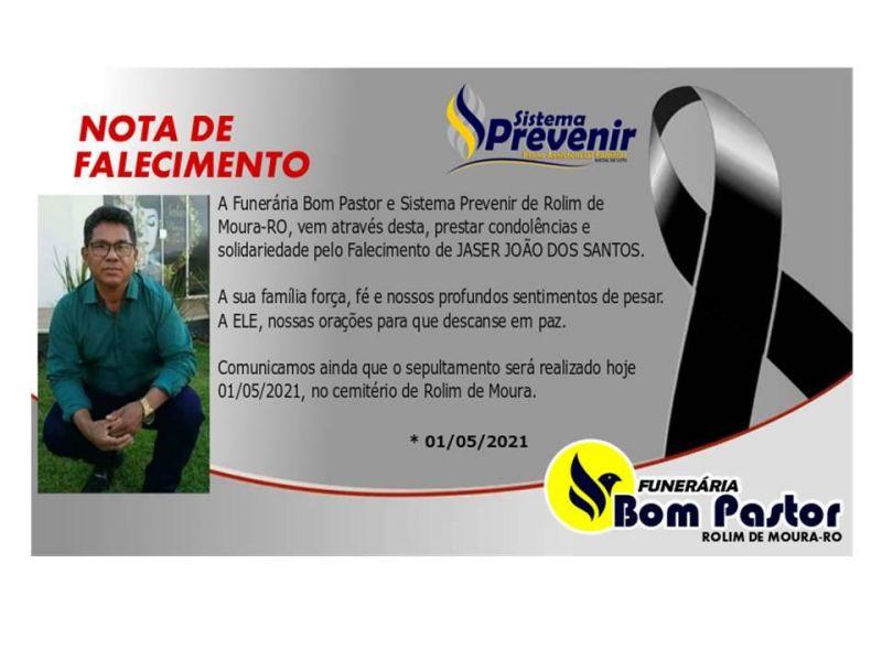 Sistema Previnir emite nota de pesar pelo falecimento de Jaser João dos Santos