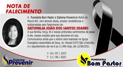 Sistema Prevenir comunica falecimento Getonilia João dos Santos Soares