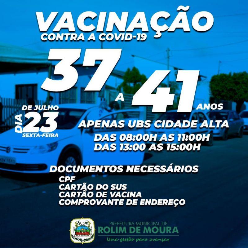 Moradores do Bairro Cidade Alta com idade de 37 e 41 anos recebem a vacina em dois dias