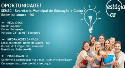 Vagas de Estagiários na SEMEC de Rolim de Moura para acadêmicos de pedagogia