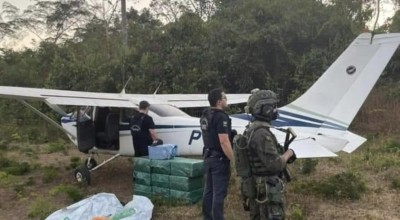 Avião com 324 kg de cocaína é interceptado pela FAB e PF em RO; aeronave não tinha plano de voo