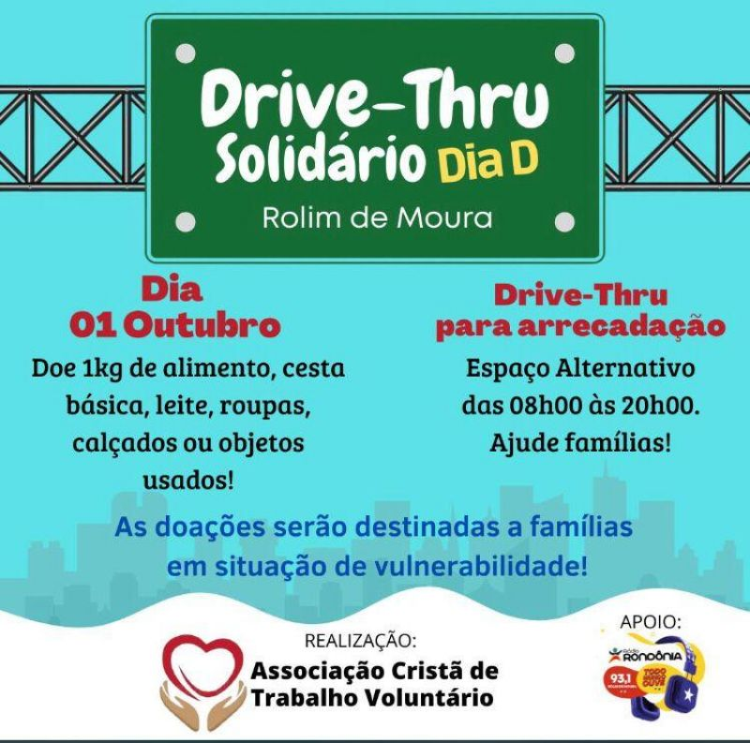 Rolim de Moura: Dia 01 de outubro ocorrerá o Drive Thru Solidário