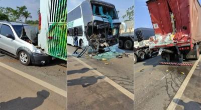 BR-364: Acidente entre Fiat Strada, caminhão e ônibus deixa seis feridos em Pimenta Bueno