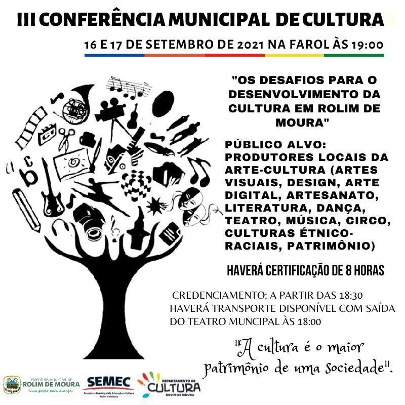 Rolim de Moura: Semec anuncia lll Conferência Municipal de Cultura