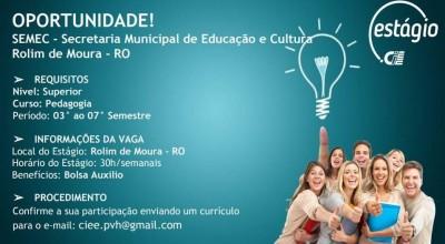 Rolim: SEMEC oferece vagas de Estágio Remunerado na área de Pedagogia