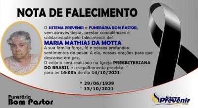 Funerária Bom Pastor comunica falecimento de Maria Mathias da Motta