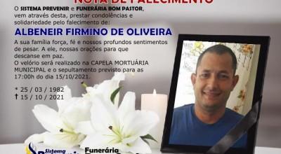 Funerária Bom Pastor comunica falecimento de Albeneir Firmino de Oliveira