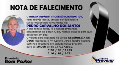 Nota de Falecimento: Pedro Carvalho dos Santos