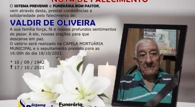 Funerária Bom Pastor comunica falecimento de Valdir de Oliveira