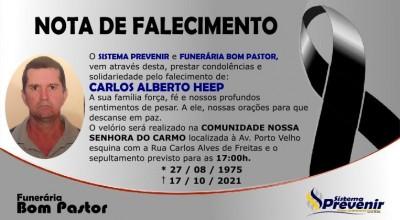 Funerária Bom Pastor emite nota de pesar pelo falecimento de Carlos Alberto Hepp