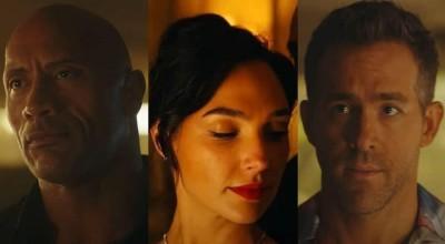 """Trailer de """"Alerta Vermelho"""" apresenta trama explosiva com Ryan Reynolds, Gal e Dwayne"""