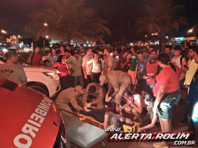 Grave acidente de trânsito no centro resulta em uma pessoa ferida em Rolim de Moura
