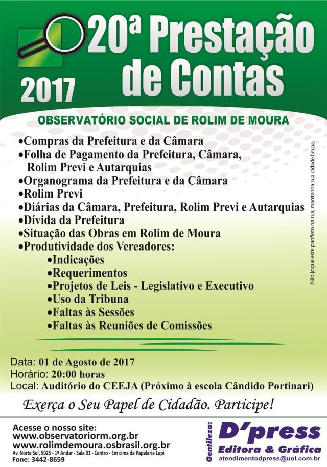 Prestação de contas do Observatório Social de Rolim de Moura será dia 01 de agosto
