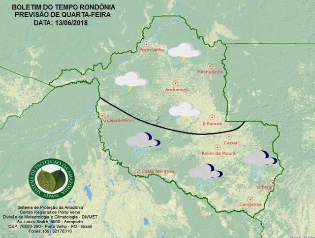 Sipam prevê nova frente fria a partir desta quarta no Cone Sul e em todo o Estado na quinta