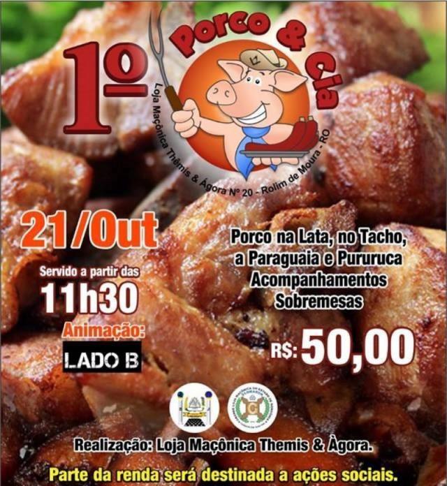Rolim de Moura: 1º Porco & Cia acontece no dia 21 de outubro