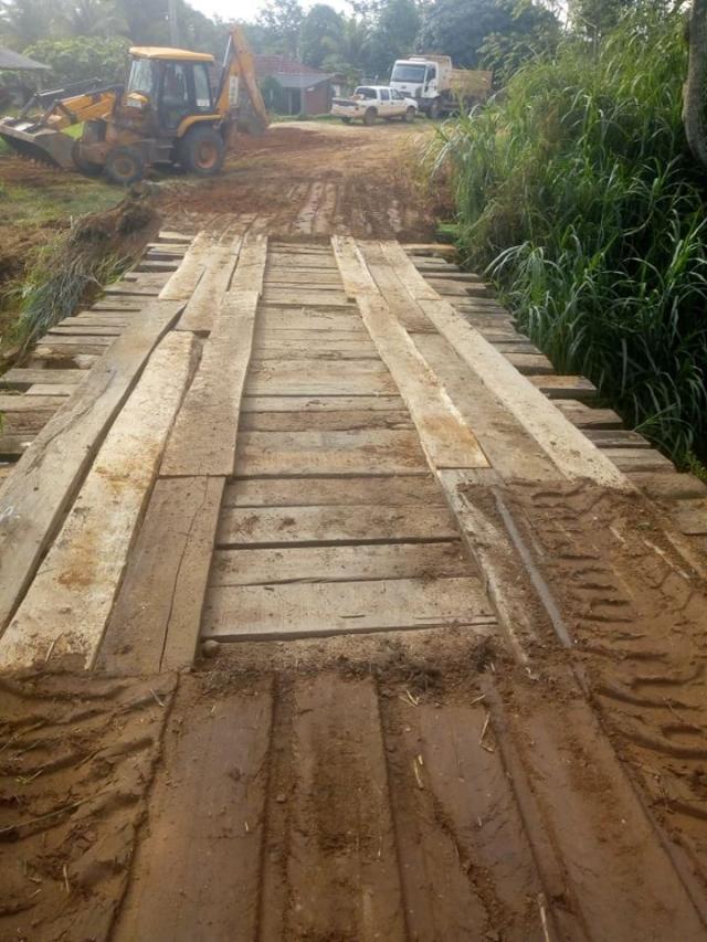 Recuperada ponte da linha 168 em Rolim de Moura