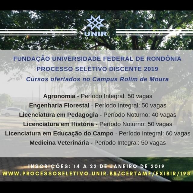 Rolim: Prazo para inscrições no processo seletivo da UNIR acaba dia 22
