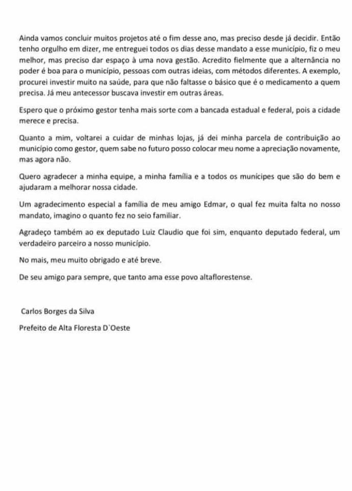 Em nota oficial, prefeito de Alta Floresta diz que não vai tentar a reeleição