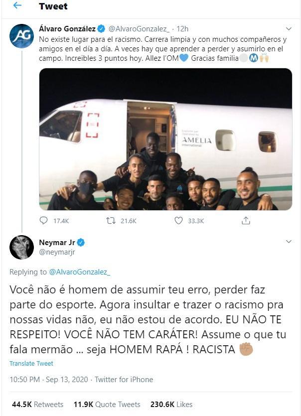 Neymar responde zagueiro acusado de racismo no Twitter: 'Eu não te respeito!'