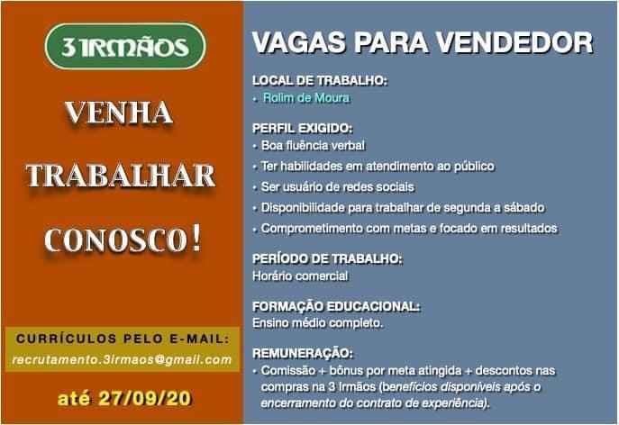 3 Irmãos de Rolim de Moura está contratando vendedor; interessados devem enviar currículo por e-mail