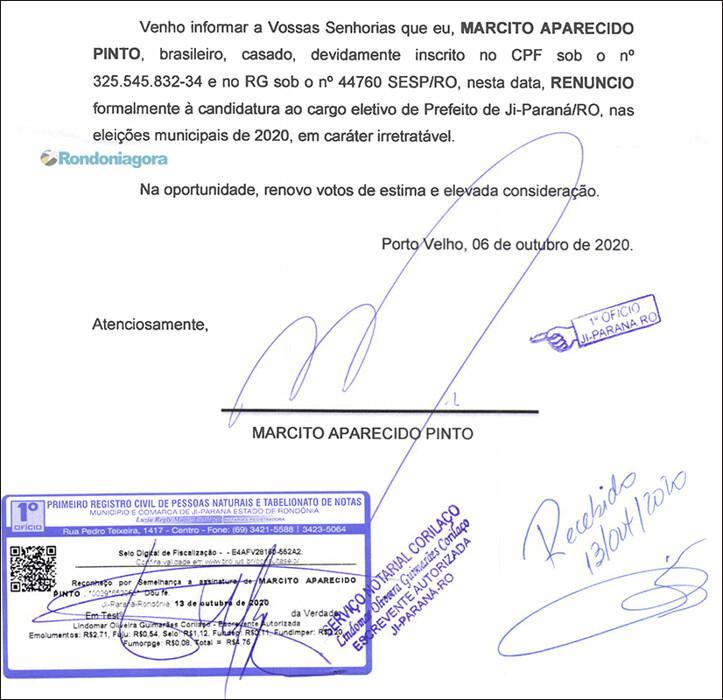 Preso por corrupção, prefeito de Ji-Paraná desiste de concorrer à reeleição