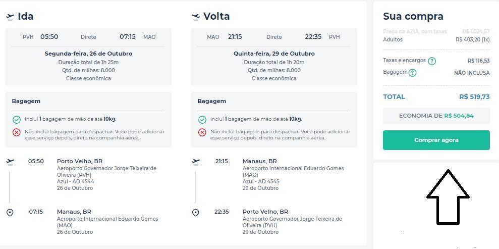 Voos de ida e volta por apenas R$ 519 para embarque em Porto Velho no mês de outubro