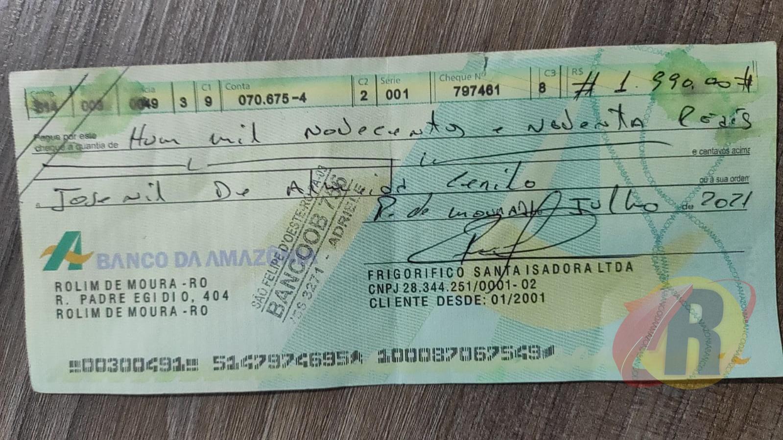 ATENÇÃO: Cheques falsos com nome de frigorífico são identificados em Rolim de Moura e Nova Brasilândia