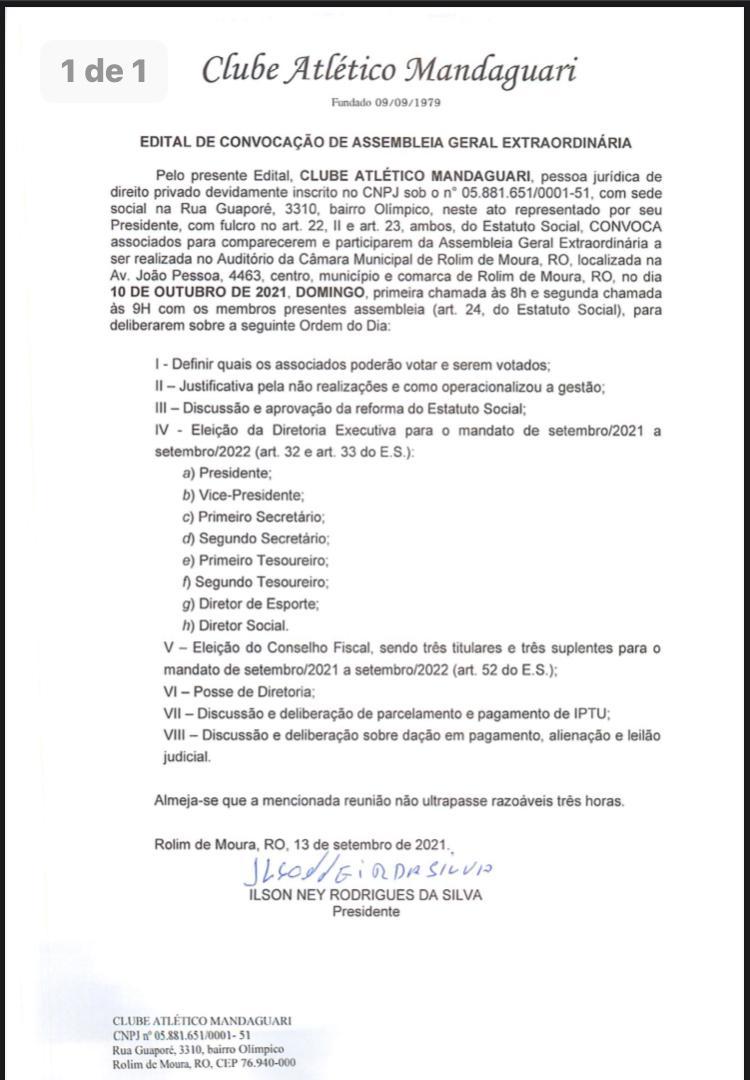 Edital de convocação de Assembleia Geral Extraordinária do Clube Atlético Mandaguari