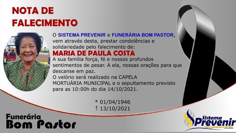 Funerária Bom Pastor emite nota de falecimento de Maria de Paula Costa